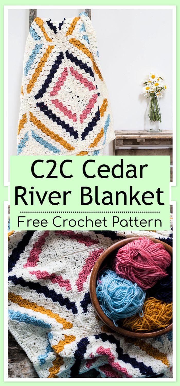 C2C Crochet Cedar River Blanket Free Pattern