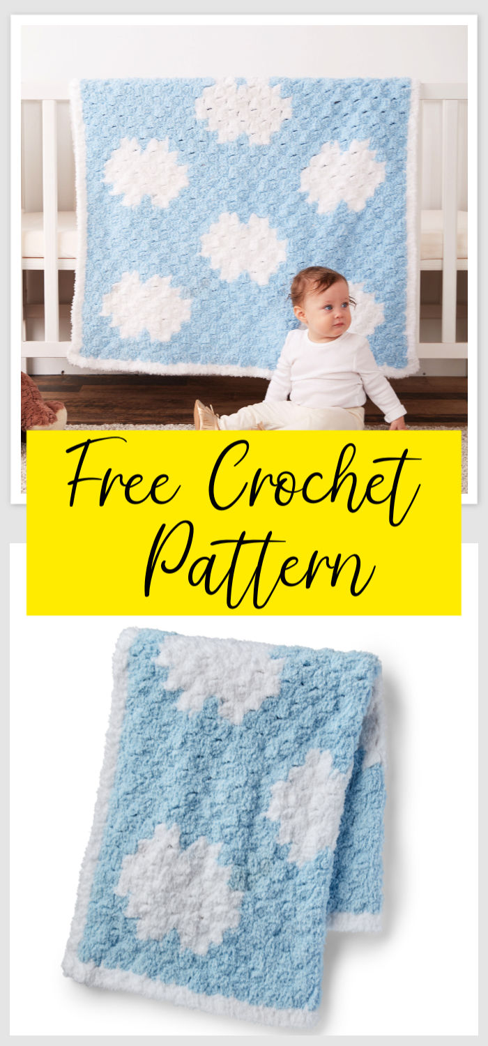 C2C Crochet Dreamy Clouds Baby Blanket Free Pattern
