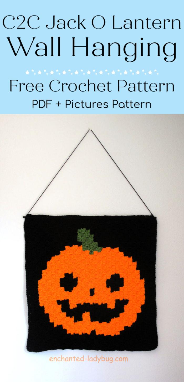 C2C Crochet Jack O Lantern Wall Hanging Free Pattern