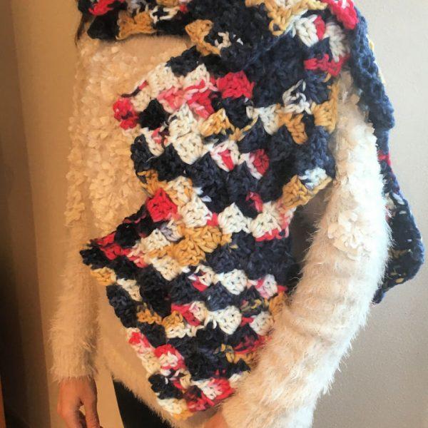 C2C Crochet Mittered Scarf Shawl