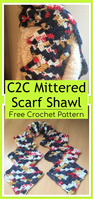 C2C Crochet Mittered Scarf Shawl Free Pattern