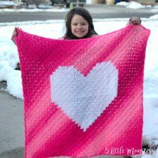 C2C Crochet Ombre Heart Blanket 1