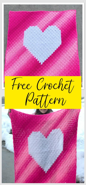 C2C Crochet Ombre Heart Blanket Free Pattern 1